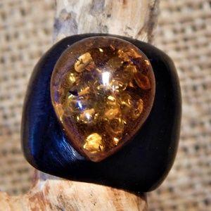 BoHo Amber & Wood Ring size 8ish